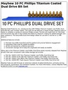 Mayhew 10 PC Phillips Titanium Coated Dual Drive Bit Set