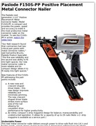Paslode F150S-PP Positive Placement Metal Connector Nailer