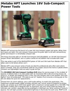 Metabo HPT Launches 18V Sub-Compact Power Tools