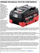 Metabo introduces 10.0 Ah LiHD Battery