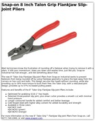 Snap-on 8 Inch Talon Grip FlankJaw Slip-Joint Pliers