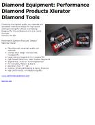 Diamond Equipment: Performance Diamond Products Xlerator Diamond Tools