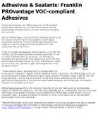 Franklin PROvantage VOC-compliant Adhesives