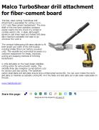 Malco TurboShear drill attachment for fiber-cement board
