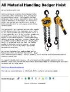 All Material Handling Badger Hoists