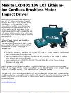 Makita LXDT01 18V LXT Lithium-ion Cordless Brushless Motor Impact Driver