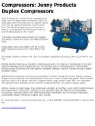 Jenny Products Duplex Compressors