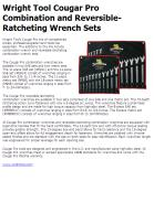 Wright Tool Cougar Pro Combination and Reversible-Ratcheting Wrench Sets