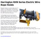 Harrington RHN Series Electric Wire Rope Hoists