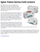 Igloo Yukon Series Cold Lockers
