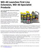 WD-40 Launches First Line Extension, WD-40 Specialist Products