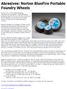 Abrasives: Norton BlueFire Portable Foundry Wheels
