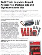 TASK Tools Launches Impact Accessories, Decking Bits and Signature Spade Bits