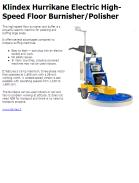 Klindex Hurrikane Electric High-Speed Floor Burnisher/Polisher