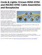 Ericson MINI-SYNC and MICRO-SYNC Cable Assemblies and Receptacles
