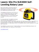 Site Pro SLR300H Self-Leveling Rotary Laser