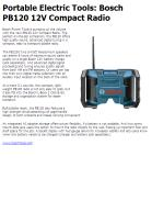 Portable Electric Tools: Bosch PB120 12V Compact Radio