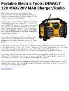 Portable Electric Tools: DEWALT 12V MAX/20V MAX Charger/Radio