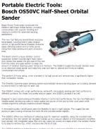 Portable Electric Tools: Bosch OS50VC Half-Sheet Orbital Sander