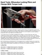 Milwaukee Locking Pliers and Clamps With Torque Lock
