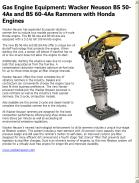 Wacker Neuson BS 50-4As and BS 60-4As Rammers with Honda Engines