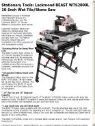 Lackmond BEAST WTS2000L 10 Inch Wet Tile/Stone Saw