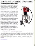 Titan AirCoat Series Air-Assisted Fine Finishing Airless Sprayers