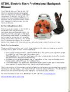 STIHL Electric Start Professional Backpack Blower