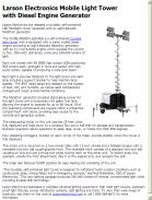 Larson Electronics Mobile Light Tower with Diesel Engine Generator