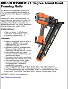 RIDGID R350RHF 21 Degree Round Head Framing Nailer