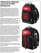 Milwaukee Ultimate and Low-Profile Backpacks