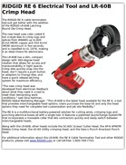 RIDGID RE 6 Electrical Tool and LR-60B Crimp Head