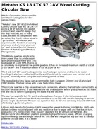 Metabo KS 18 LTX 57 18V Wood Cutting Circular Saw