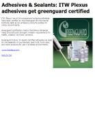 ITW Plexus adhesives get greenguard certified