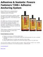 Adhesives & Sealants: Simpson SET-XP Anchoring Adhesive