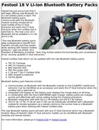 Festool 18 V Li-ion Bluetooth Battery Packs