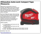 Milwaukee Auto-Lock Compact Tape Measures