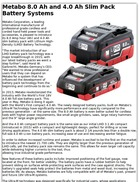 Metabo 8.0 Ah and 4.0 Ah Slim Pack Battery Systems
