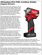 Milwaukee M12 FUEL Cordless Stubby Impact Drivers