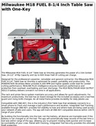 Milwaukee M18 FUEL 8-1/4 Inch Table Saw with One-Key