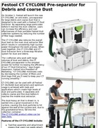 Festool CT CYCLONE Pre-separator for Debris and coarse Dust