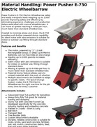 Material Handling: Power Pusher E-750 Electric Wheelbarrow