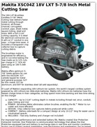 Makita XSC04Z 18V LXT 5 7/8 Inch Metal Cutting Saw