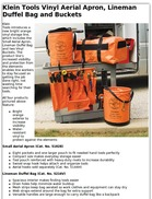 Klein Tools Vinyl Aerial Apron, Lineman Duffel Bag and Buckets