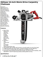 Skilsaw 16-Inch Worm Drive Carpentry Chainsaw