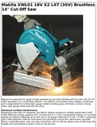 Makita XWL01 18V X2 LXT (36V) Brushless 14 Cut-Off Saw