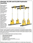 Enerpac SL100 and SL200 Hydraulic Gantries