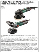 Metabo PE 15-20 RT/PE 15-30 Variable Speed High Torque Dry Polishers
