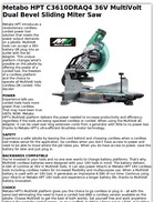 Metabo HPT C3610DRAQ4 36V MultiVolt Dual Bevel Sliding Miter Saw