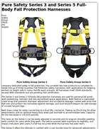 Pure Safety Series 3 and Series 5 Full-Body Fall Protection Harnesses